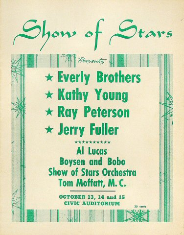 Everly Brothers Program from Old Civic Auditorium on 13 Oct 61: 8 3/8&quot; x 10 5/8&quot;
