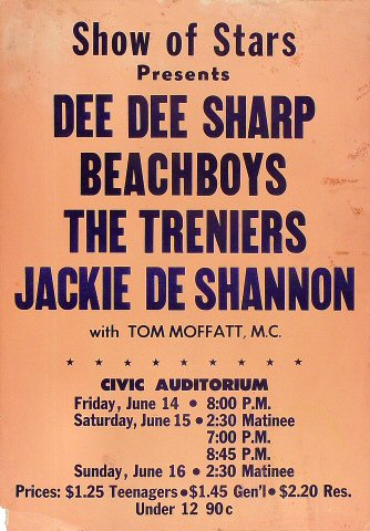 "The Beach Boys Poster from Old Civic Auditorium on 14 Jun 63: 14 1/8"" x 22 1/8"""