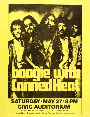 "Canned Heat Handbill from Old Civic Auditorium on 27 May 72: 8 1/2"" x 11"""