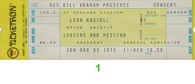 Leon Russell 1970s Ticket from Oakland Coliseum Stadium on 05 Aug 73: Ticket One