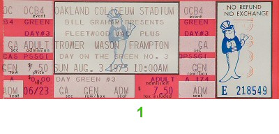 Robin Trower 1970s Ticket from Oakland Coliseum Stadium on 03 Aug 75: Ticket One