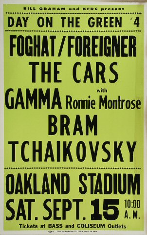 "Foghat Poster from Oakland Coliseum Stadium on 15 Sep 79: 14"" x 22"""