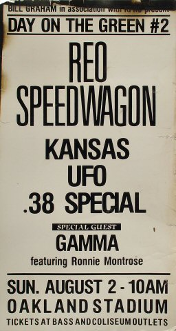 "REO Speedwagon Poster from Oakland Coliseum Stadium on 02 Aug 81: 15"" x 28"""