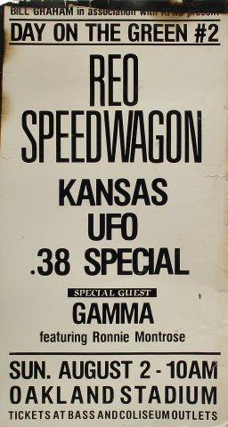 "REO Speedwagon Poster from Oakland Coliseum Stadium on 02 Aug 81: 15"" x 28"""