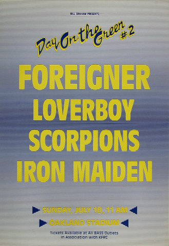 "Foreigner Poster from Oakland Coliseum Stadium on 18 Jul 82: 15 1/4"" x 22 1/4"""