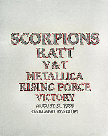 Scorpions Pelon from Oakland Coliseum Stadium on 31 Aug 85: Cloth