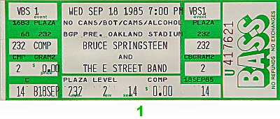 Bruce Springsteen & the E Street Band 1980s Ticket from Oakland Coliseum Stadium on 18 Sep 85: Ticket One
