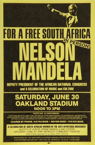 "Nelson Mandela Handbill from Oakland Coliseum Stadium on 30 Jun 90: 7 1/4"" x 11"""