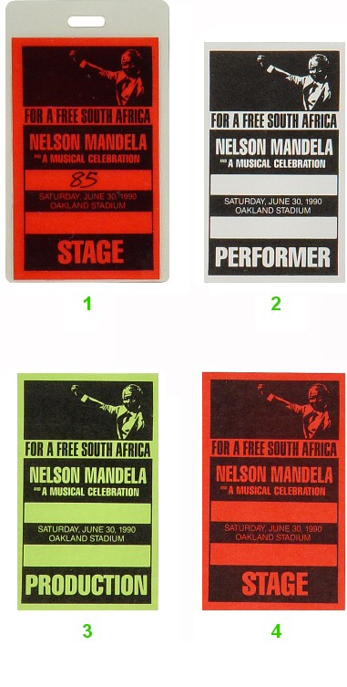 Nelson Mandela Laminate from Oakland Coliseum Stadium on 30 Jun 90: Laminate 2