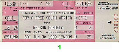 Nelson Mandela 1990s Ticket from Oakland Coliseum Stadium on 30 Jun 90: Ticket One
