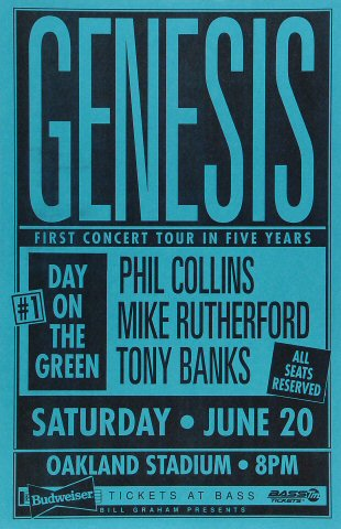 "Genesis Poster from Oakland Coliseum Stadium on 20 Jun 92: 11"" x 17"""