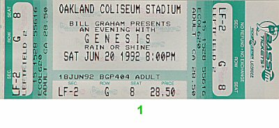 Genesis 1990s Ticket from Oakland Coliseum Stadium on 20 Jun 92: Ticket One