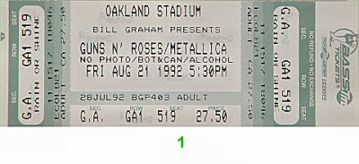 Guns N' Roses 1990s Ticket from Oakland Coliseum Stadium on 21 Aug 92: Ticket One