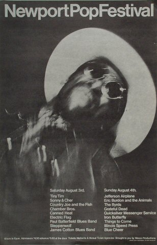 "Tiny Tim Poster from Orange County Fairgrounds on 03 Aug 68: 14 1/4"" x 22 1/4"""