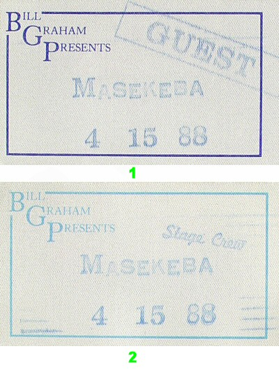 Miriam Makeba Backstage Pass from Orpheum Theatre San Francisco on 15 Apr 88: Pass 1