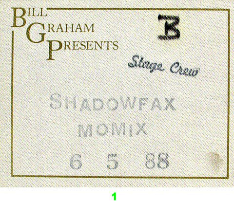 Shadowfax Backstage Pass from Orpheum Theatre San Francisco on 05 Jun 88: Pass 1