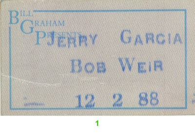 Jerry Garcia Band Backstage Pass from Orpheum Theatre San Francisco on 02 Dec 88: Pass 1