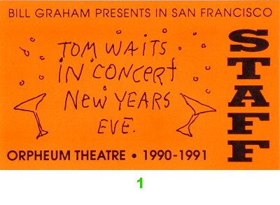 Tom Waits Laminate from Orpheum Theatre San Francisco on 31 Dec 90: Laminate 1