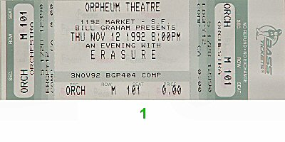 Erasure 1990s Ticket from Orpheum Theatre San Francisco on 12 Nov 92: Ticket One