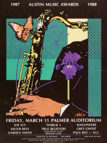 "Joe Ely Poster from Palmer Auditorium on 11 Mar 87: 16 1/4"" x 21 3/4"""