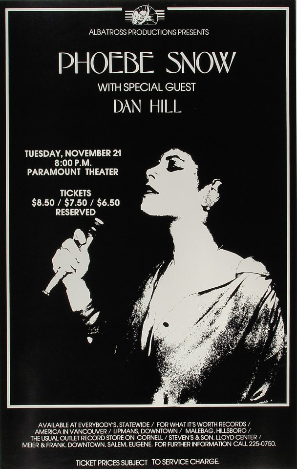"Phoebe Snow Poster from Paramount Theatre Portland on 21 Nov 72: 14"" x 22"""