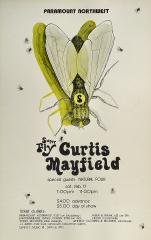 "Curtis Mayfield Poster from Paramount Theatre Portland on 17 Feb 73: 14"" x 22"""