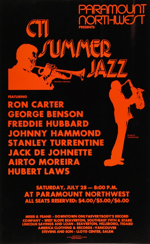 """Freddie Hubbard Poster from Paramount Theatre Portland on 28 Jul 73: 13 9/16"""" x 21 3/4"""""""