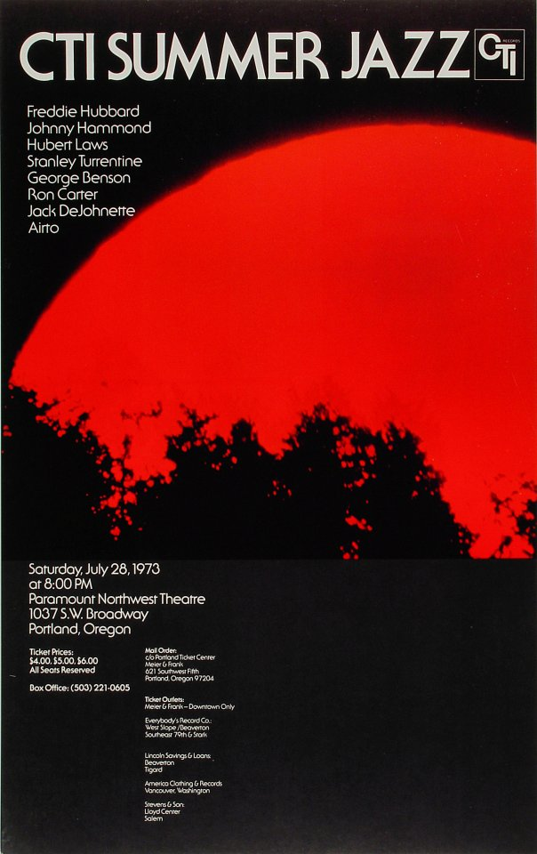 """Freddie Hubbard Poster from Paramount Theatre Portland on 28 Jul 73: 15"""" x 24"""""""