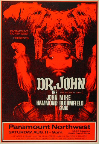 "Dr. John Poster from Paramount Theatre Portland on 11 Aug 73: 14 7/8"" x 21 5/16"""