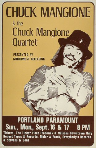 "Chuck Mangione Poster from Paramount Theatre Portland on 16 Sep 75: 14 1/8"" x 21 7/8"""