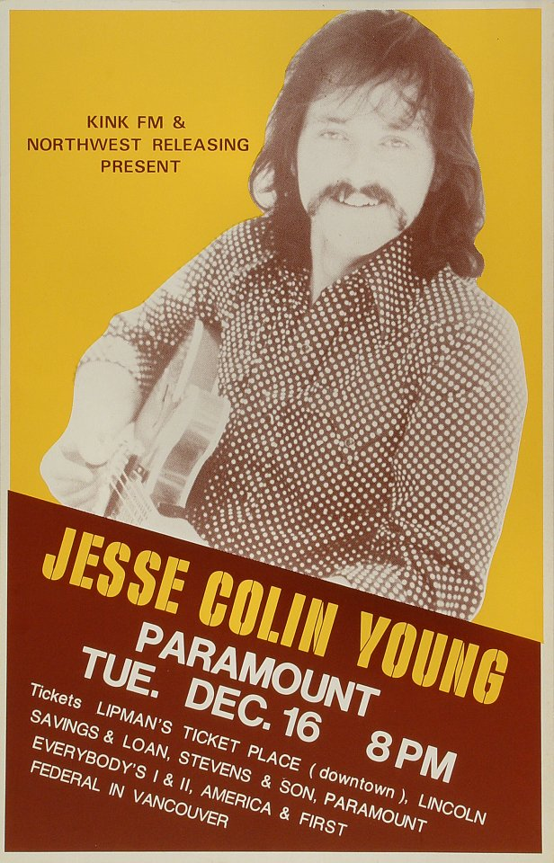 "Jesse Colin Young Poster from Paramount Theatre Portland on 16 Dec 75: 14 1/8"" x 21 7/8"""