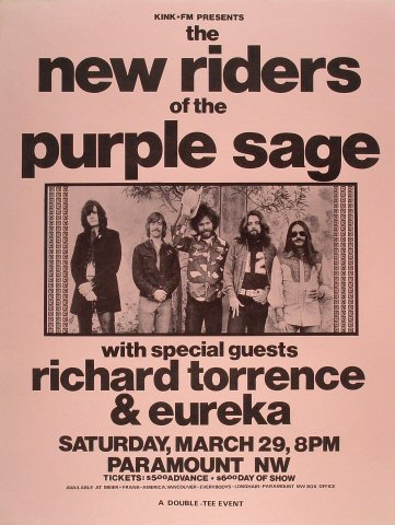 "The New Riders of the Purple Sage Poster from Paramount Theatre Portland on 29 Mar 76: 17 1/2"" x 23 1/8"""