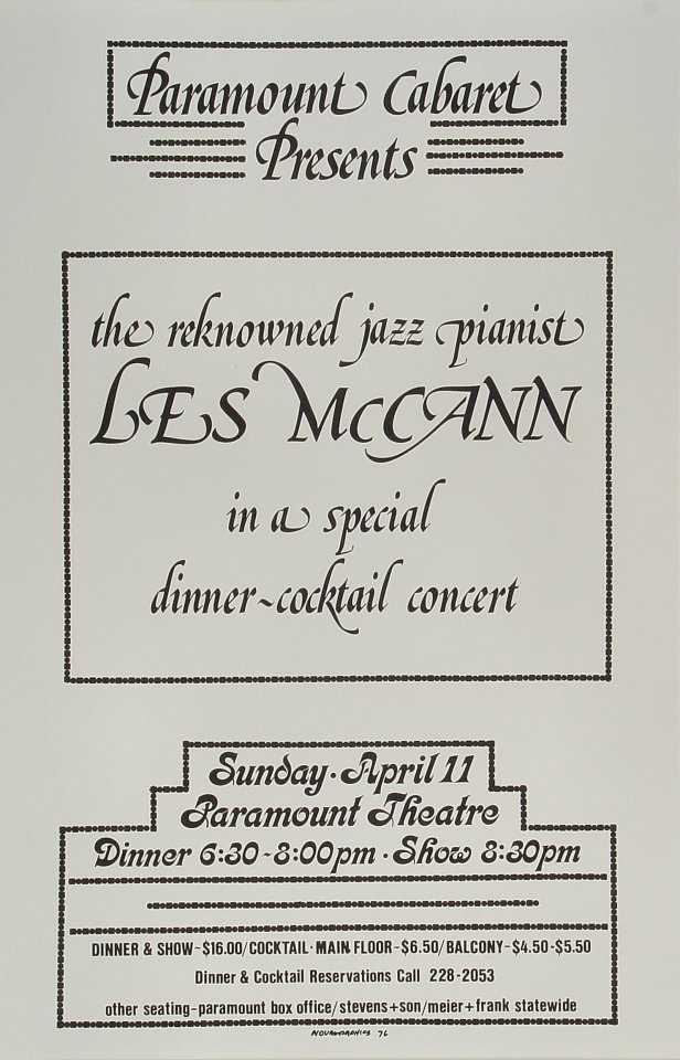 "Les McCann Poster from Paramount Theatre Portland on 11 Apr 76: 11"" x 17"""