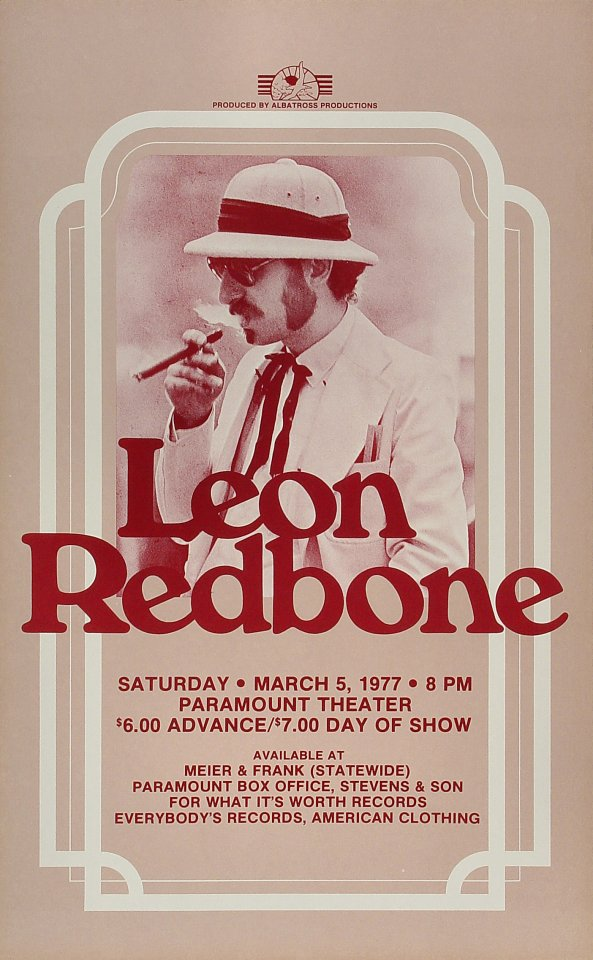 "Leon Redbone Poster from Paramount Theatre Portland on 05 Mar 77: 13 9/16"" x 21 7/8"""