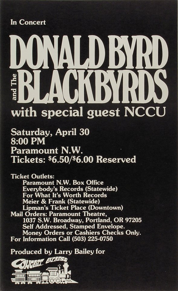 """Donald Byrd Poster from Paramount Theatre Portland on 30 Apr 77: 13 1/4"""" x 21 3/4"""""""