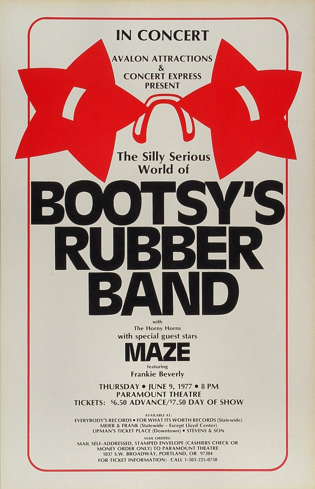 """Bootsy's Rubber Band Poster from Paramount Theatre Portland on 09 Jun 77: 14"""" x 21 3/4"""""""