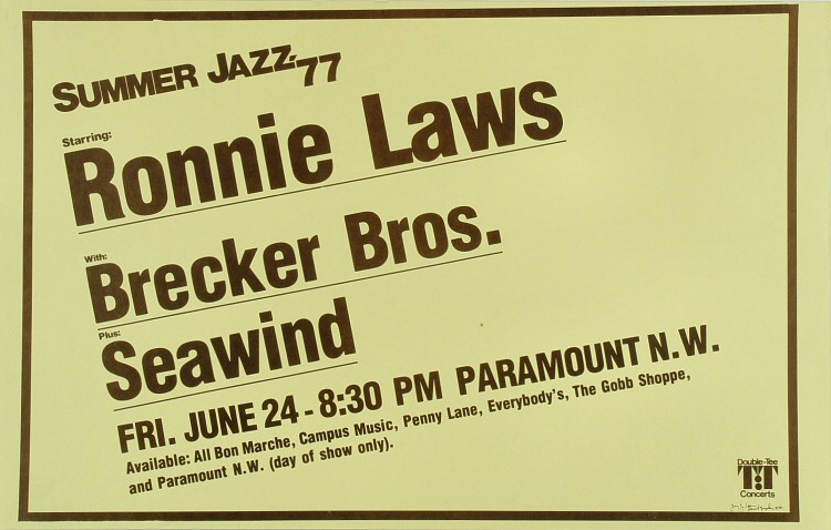 "Ronnie Laws Poster from Paramount Theatre Portland on 24 Jun 77: 14"" x 22"""