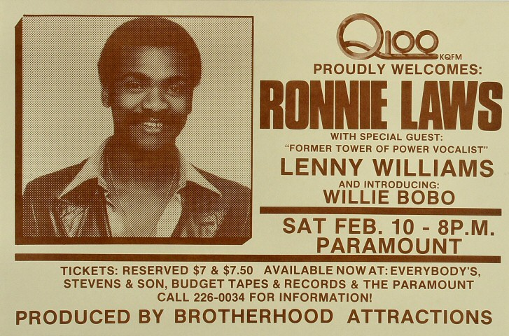 "Ronnie Laws Poster from Paramount Theatre Portland on 10 Feb 79: 11 5/8"" x 17 5/8"""