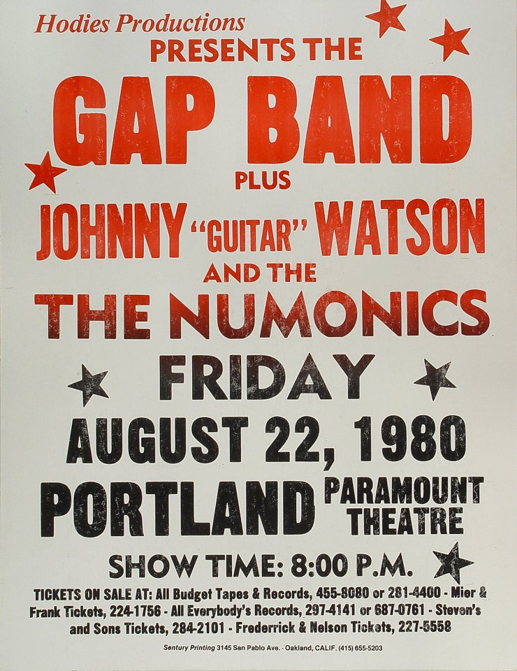 "The Gap Band Poster from Paramount Theatre Portland on 22 Aug 80: 17"" x 22"""