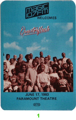 Quarterflash Backstage Pass from Paramount Theatre Portland on 17 Jun 83: Pass 1
