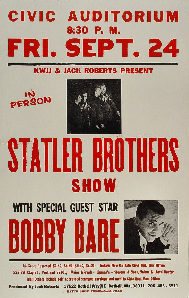 "Statler Brothers Poster from Portland Civic Auditorium on 24 Sep 71: 14"" x 22"""