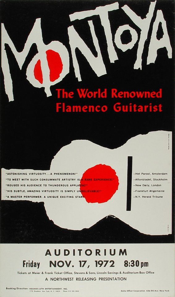 "Carlos Montoya Poster from Portland Civic Auditorium on 17 Nov 72: 12 3/4"" x 21 5/8"""