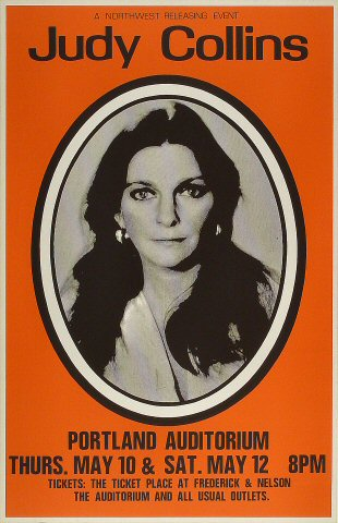 "Judy Collins Poster from Portland Civic Auditorium on 10 May 73: 14"" x 21 3/4"""