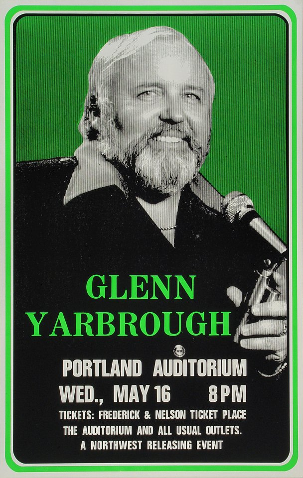 "Glenn Yarbrough Poster from Portland Civic Auditorium on 16 May 73: 14"" x 22"""