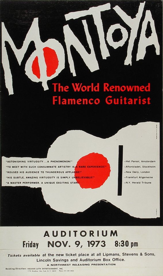 "Carlos Montoya Poster from Portland Civic Auditorium on 09 Nov 73: 12 3/4"" x 21 9/16"""