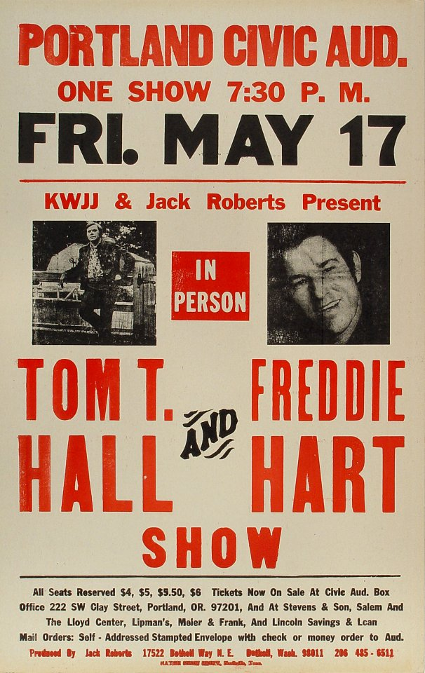 "Freddie Hart Poster from Portland Civic Auditorium on 17 May 74: 14"" x 22"""