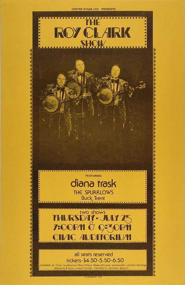 "Roy Clark Poster from Portland Civic Auditorium on 25 Jul 74: 14 5/16"" x 22"""
