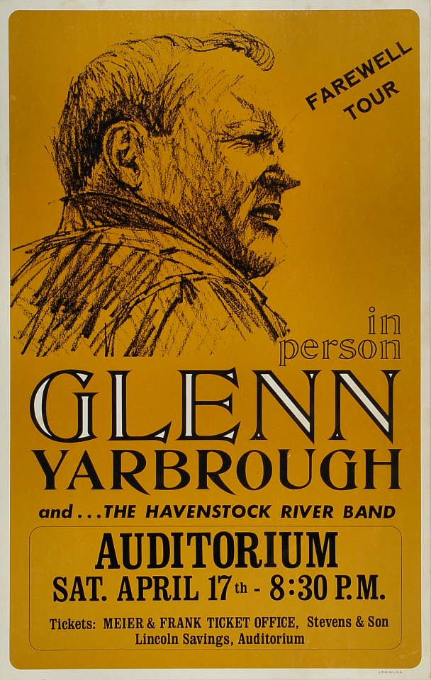 "Glenn Yarbrough Poster from Portland Civic Auditorium on 17 Apr 76: 13 13/16"" x 21 3/4"""