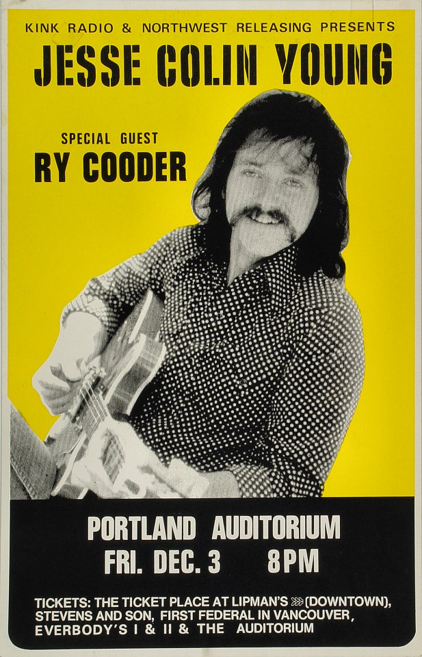 "Jesse Colin Young Poster from Portland Civic Auditorium on 03 Dec 76: 14"" x 21 13/16"""