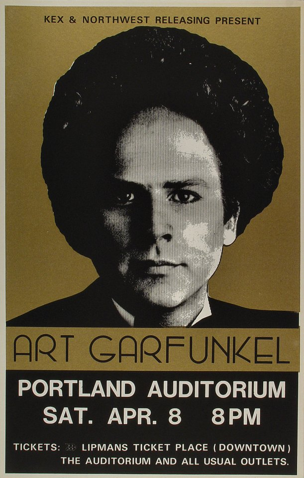 "Art Garfunkel Poster from Portland Civic Auditorium on 08 Apr 78: 14 1/8"" x 22"""